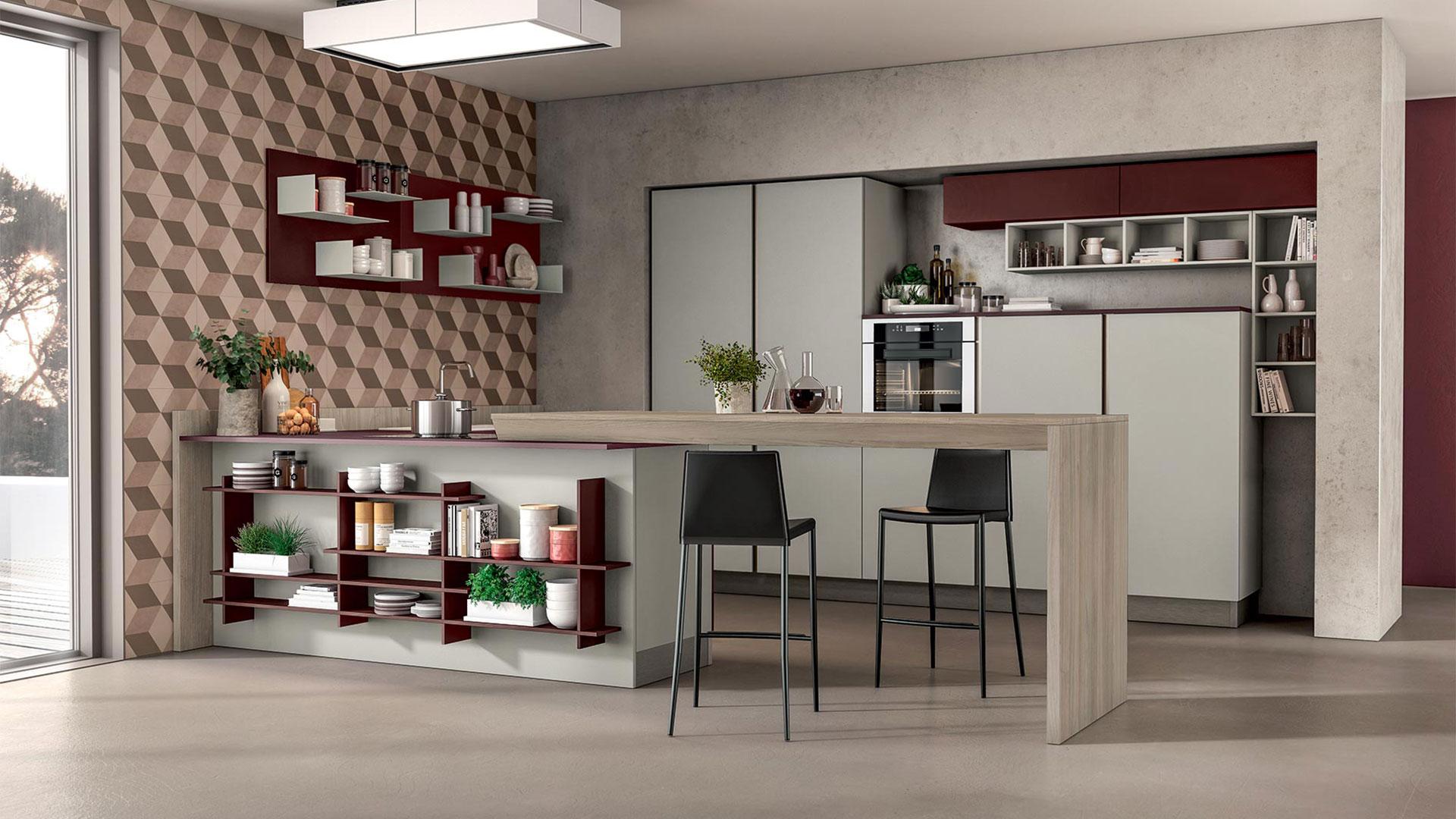 Cucine Moderne Con Tavolo A Scomparsa.Penisole E Sostegni Cucine Lube