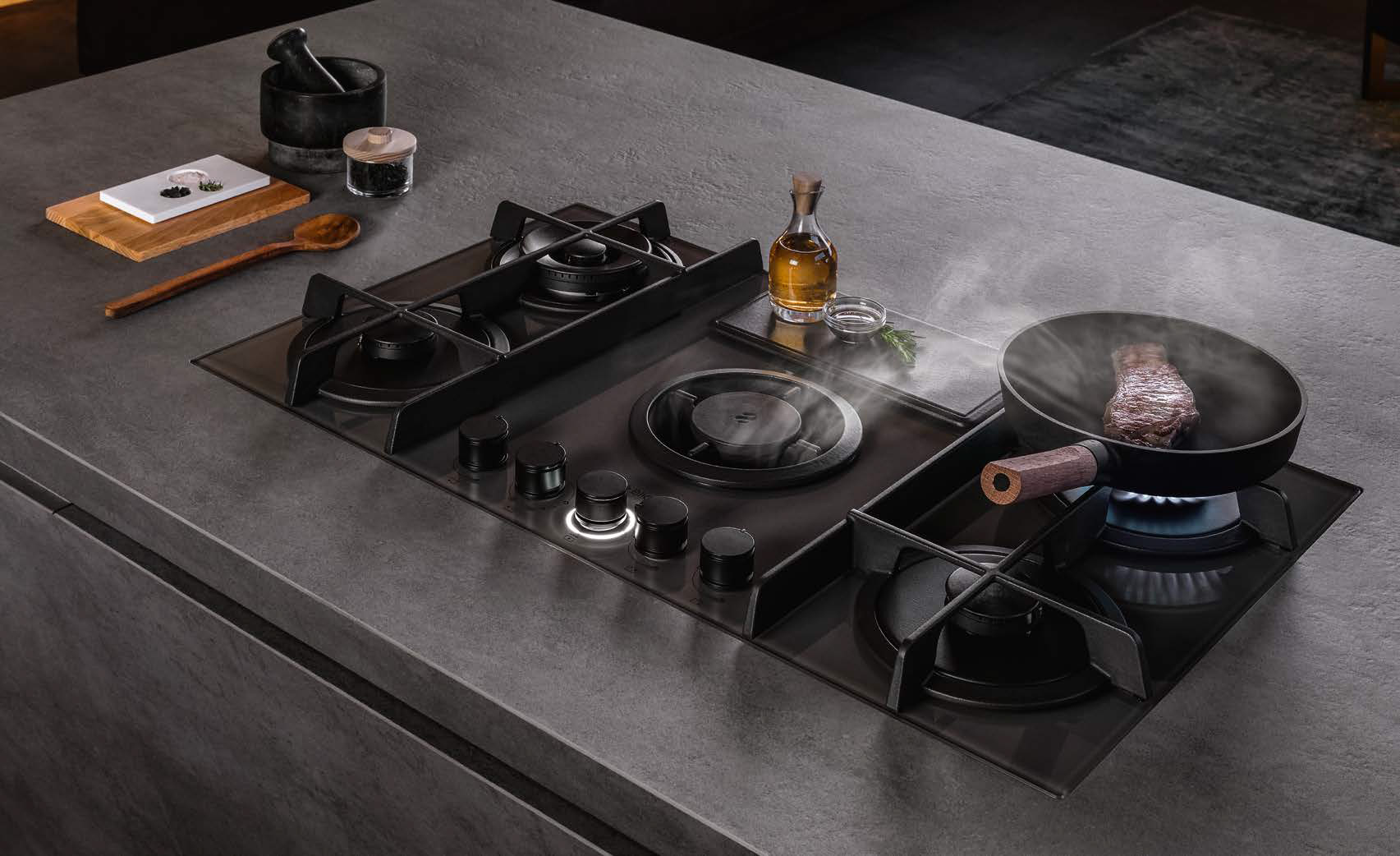 NikolaTesla Flame, the practicalness of an aspiration hob combined with the ease of gas cooking - Cucine LUBE