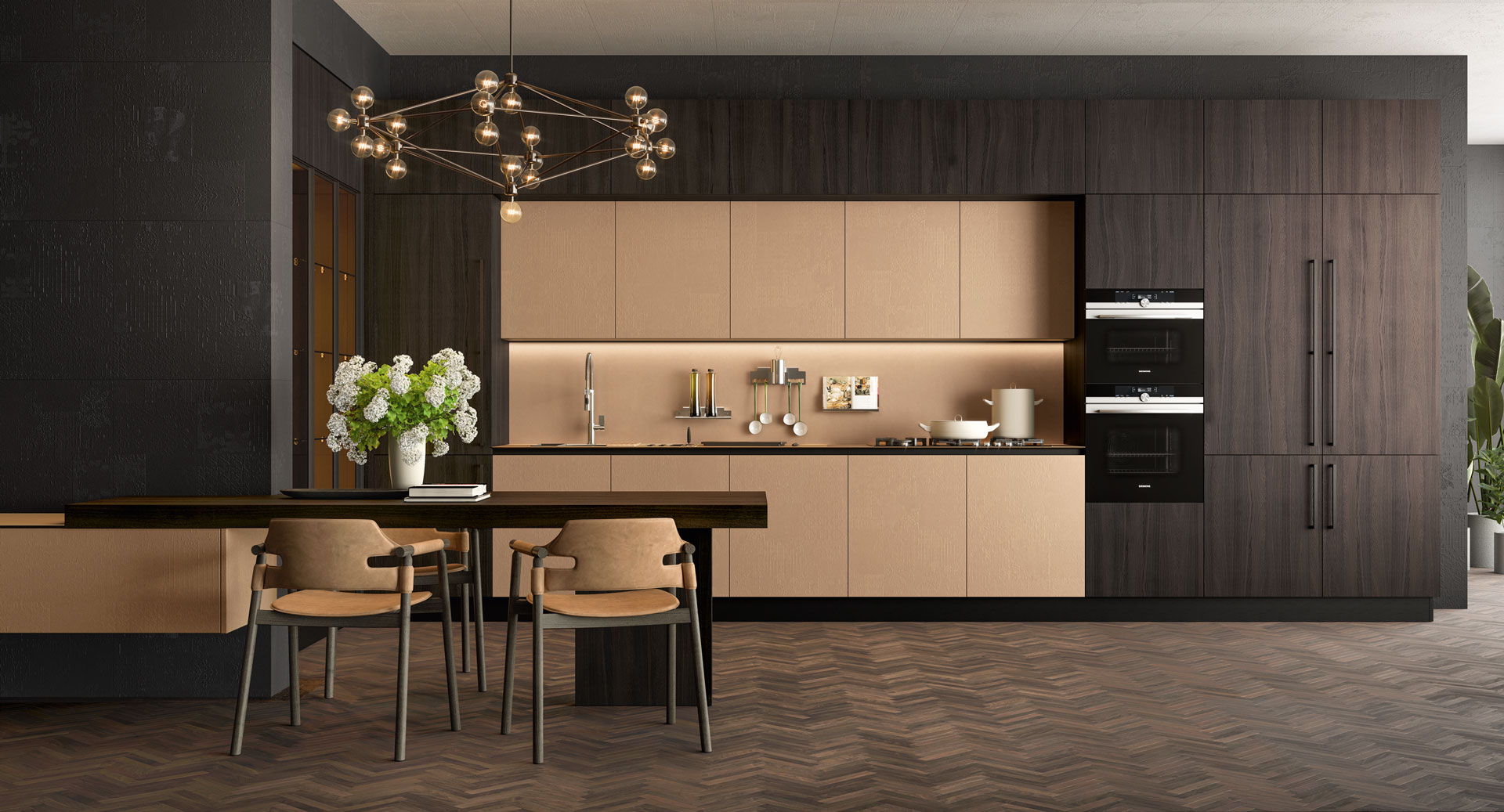 Clover - Design Collection. Precious materials that are unique to the touch and extremely attractive, for a collection in which the details create evocative settings. The kitchen becomes the maximum expression of elegance. - Cucine LUBE