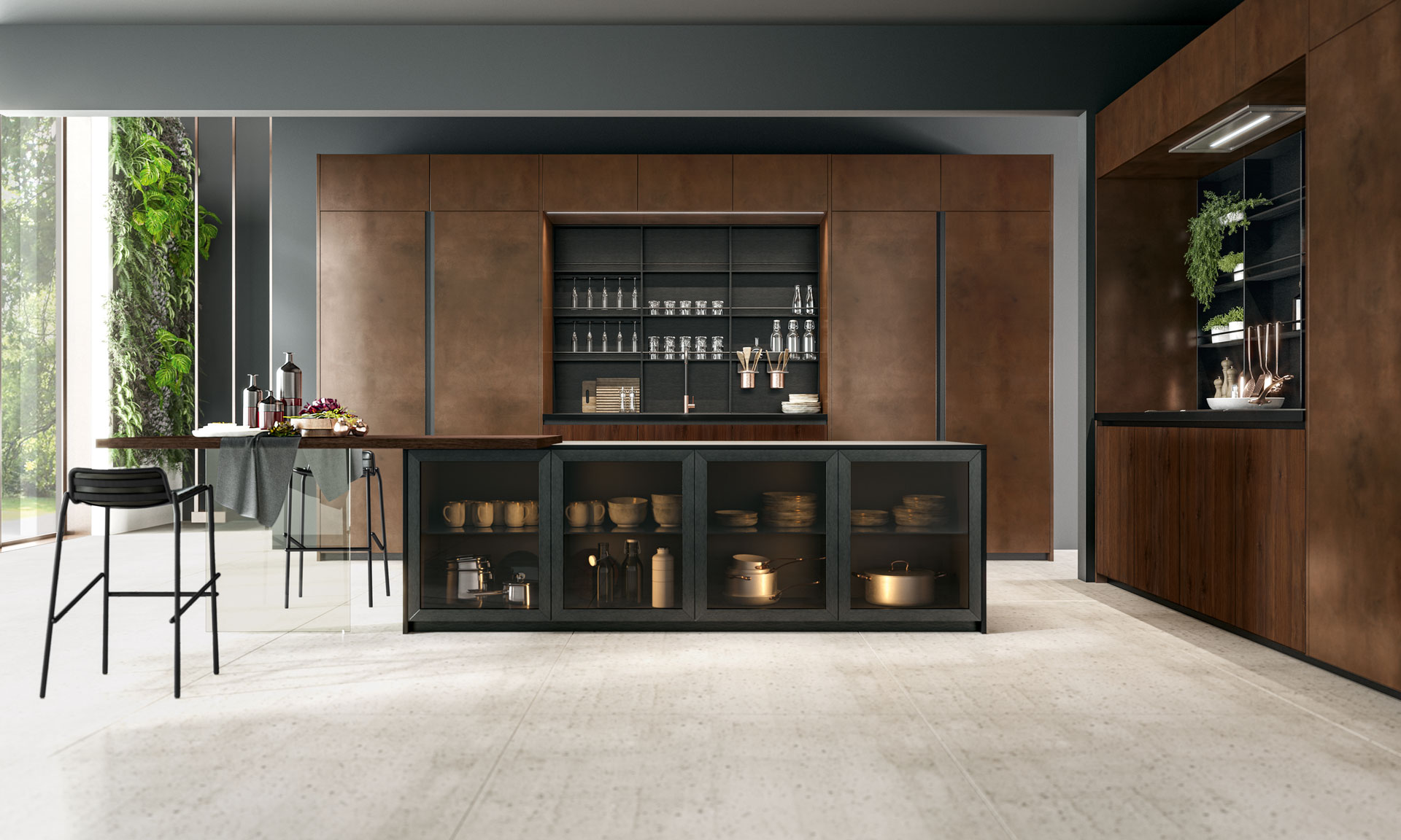 Oltre - Design Collection. Strong, modern, technologically advanced. A kitchen featuring pure texturing as its trump card. Compositions and details designed to bring out the best of contemporary living. - Cucine LUBE