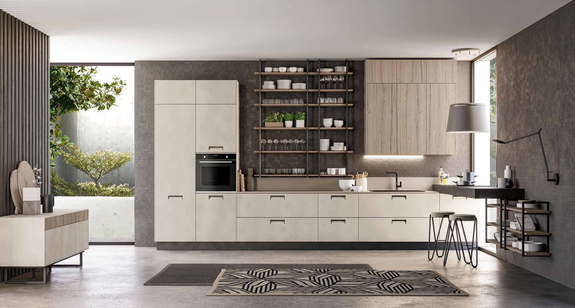Round - With the new line of modern kitchens Round, LUBE embraces the green philosophy, which materializes in the doors made of PET, a totally renewable and recyclable material. - Cucine LUBE