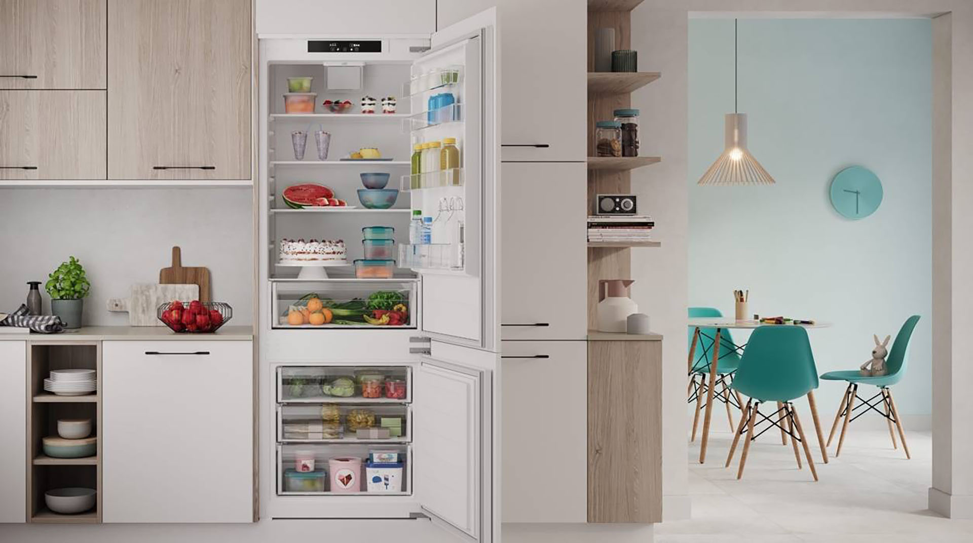 More space for your shopping and less waste with the Indesit Space 400 fridge - Cucine LUBE