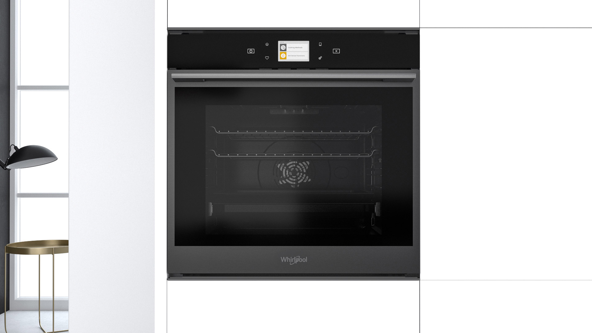 Glamour and performance blend together in the new W Collection Black Fiber oven by Whirlpool - Cucine LUBE