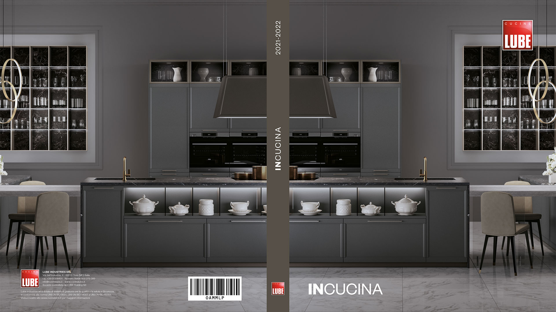 InCucina, general catalogue - The new InCucina catalogue displays all the essence and history of LUBE in 20 models, 480 finishes and 7 types of door openings, which fit each kitchen like a tailor-made suit worn by each individual customer. - Cucine LUBE