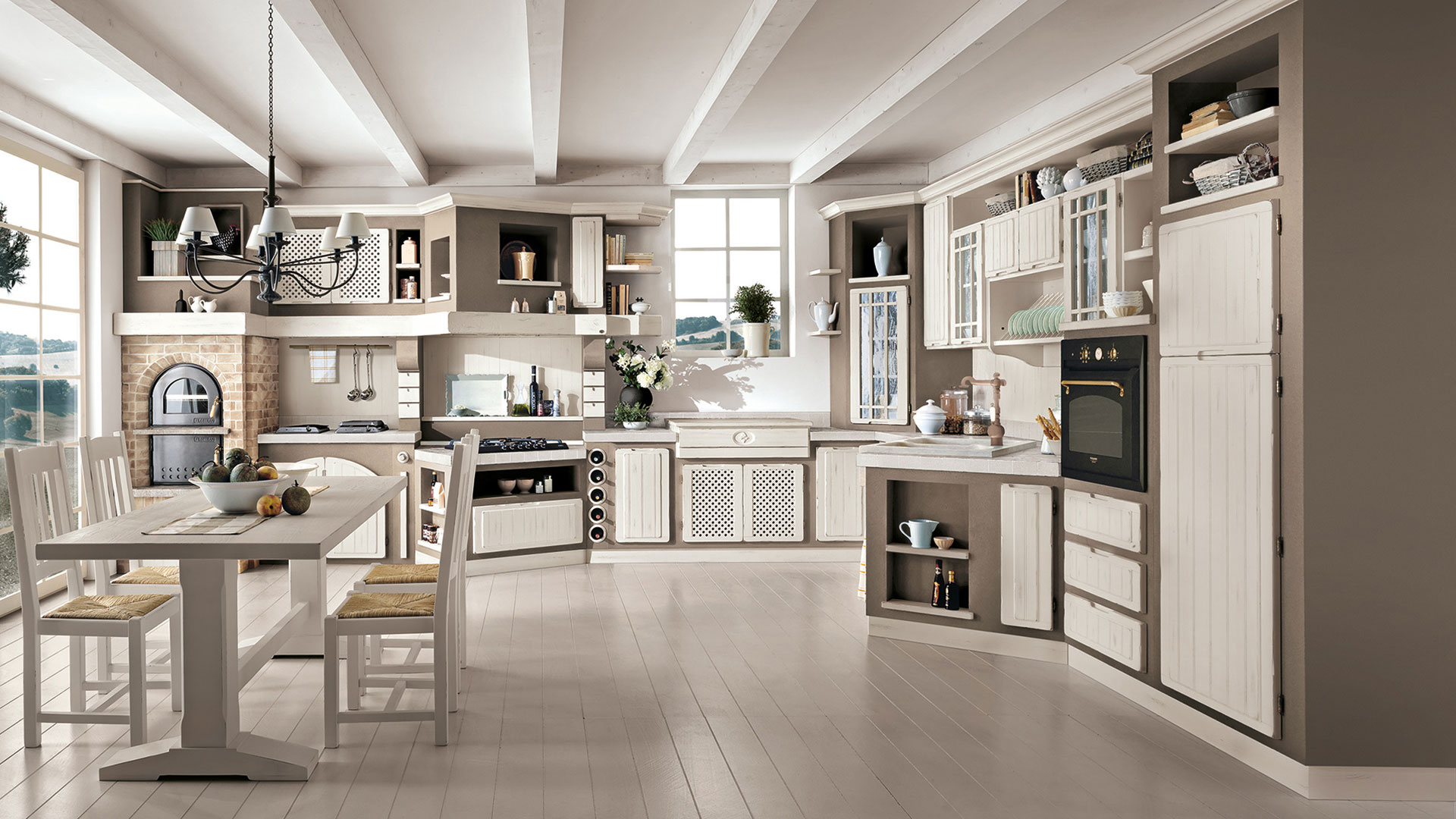 Cucina Bianca Moderna Con Tavolo Antico.Elena Cucine Borgo Antico Cucine Lube