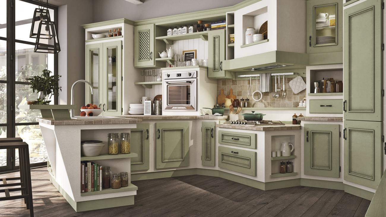 Borgo Antico Kitchens - Beatrice - Sage lacquered with brown shades