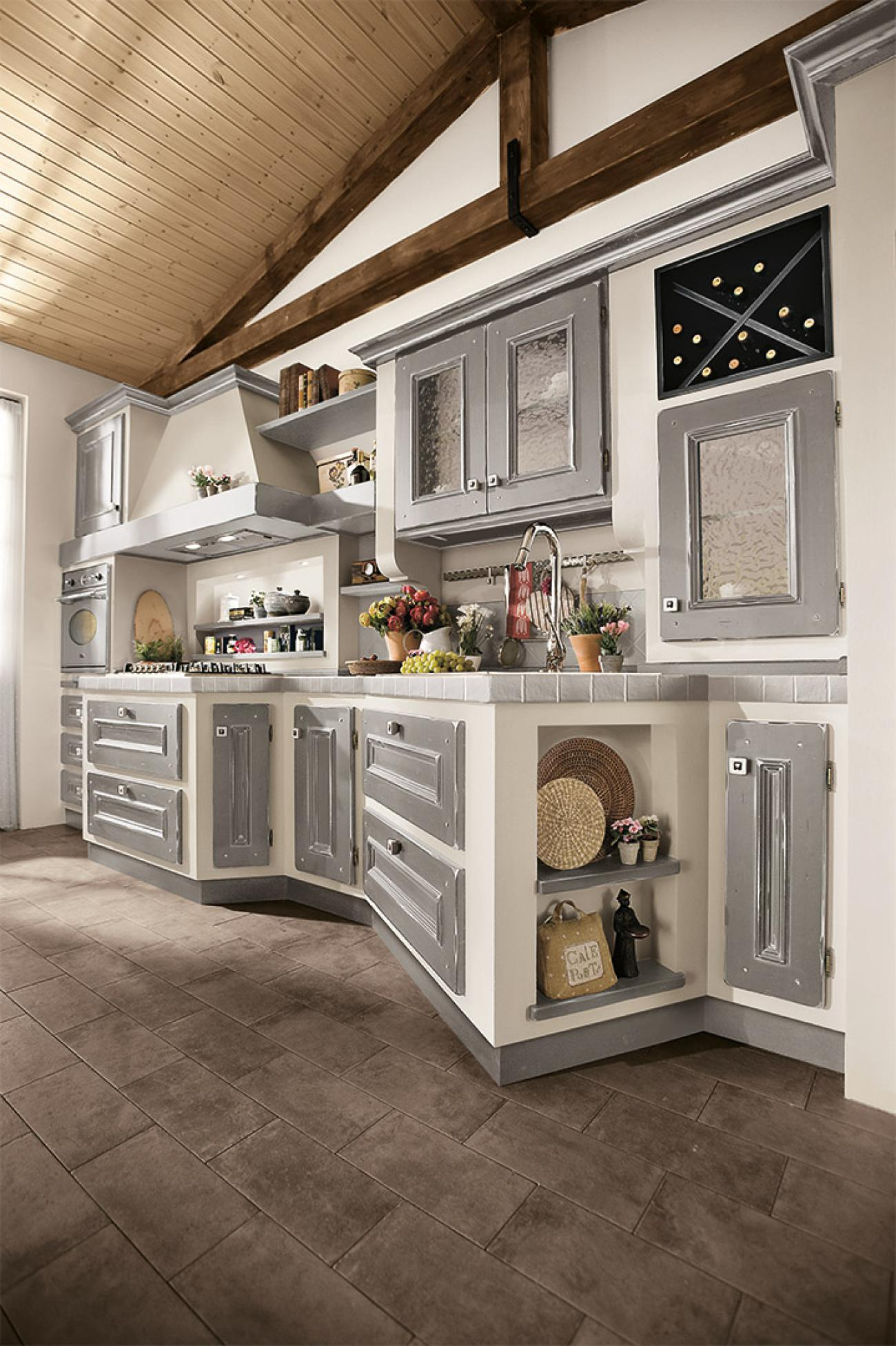 Borgo Antico Kitchens - Beatrice - Clay lacquered with ivory shades