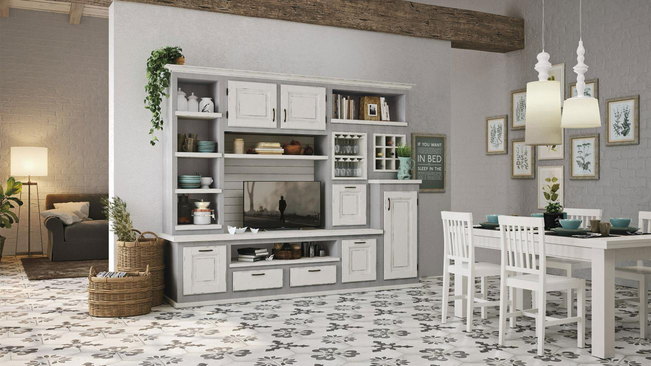Borgo Antico Kitchens - Onelia - White lacquered with grey shades